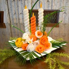 Carved Vegetable Candle Arrangement
