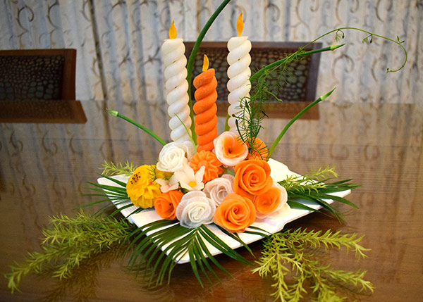 Vegetable Candle Arrangement perfect for the holidays