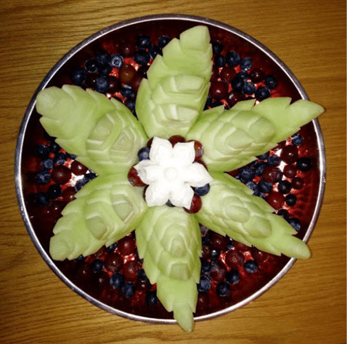 Honeydew Lotus seen from the top - another of Dean Phillip's vegetable and fruit carvings