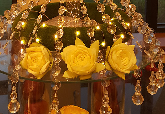 carved yellow roses