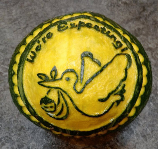 Squash carved with stork pattern