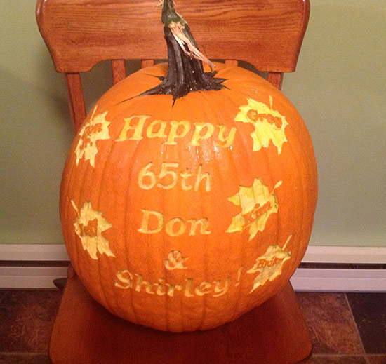 65th Wedding Anniversary pumpkin carving by Cindy Rozich