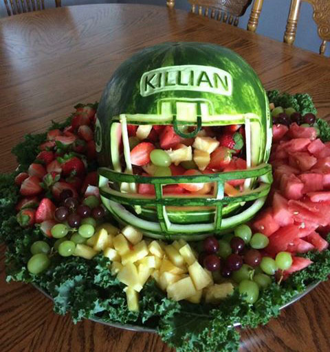 another of Deborah Cheeseman's watermelon football helmets