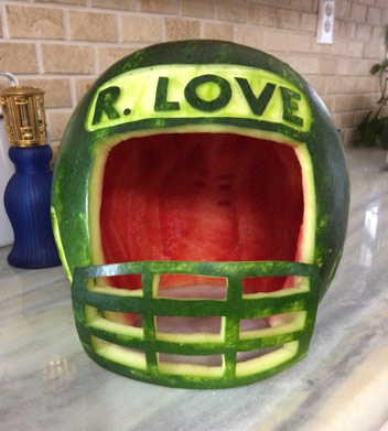 watermelon football helmet by Deborah Cheeseman