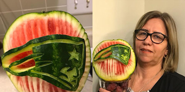 Patriots watermelon carving by Wilma Silva