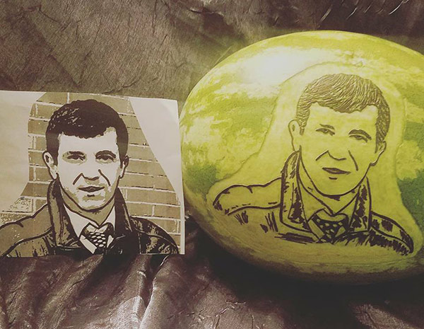 face carved on watermelon for wedding anniversary