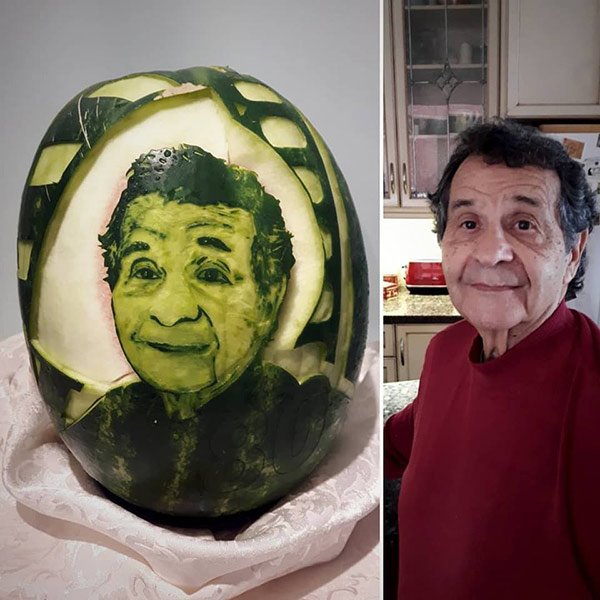 face carved on watermelon by Aneta Lekas