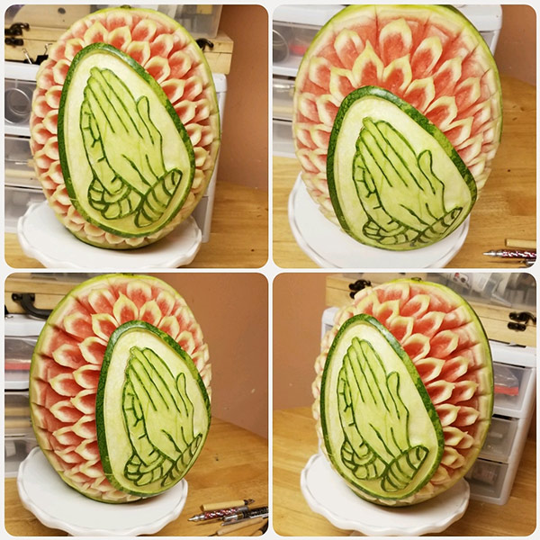 prayerful hands watermelon carving by Kentrina Jones