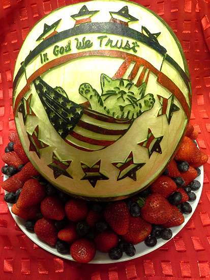 one of Rose Flores' original 4th of July Watermelon Carvings