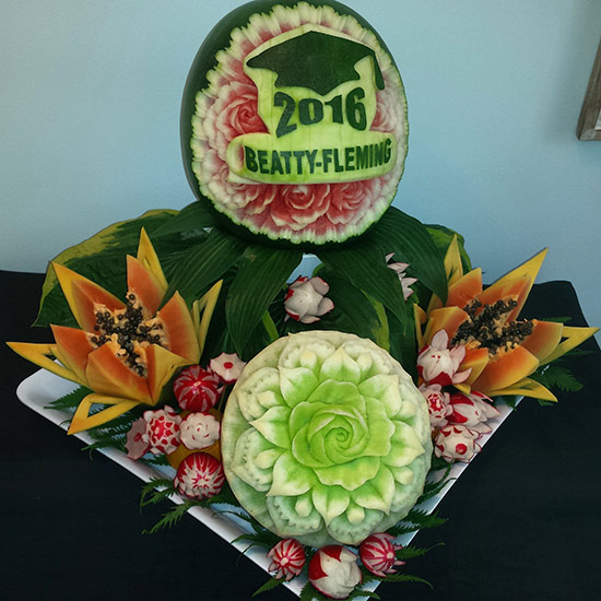 Graduation fruit carvings display by Aneta Lekas