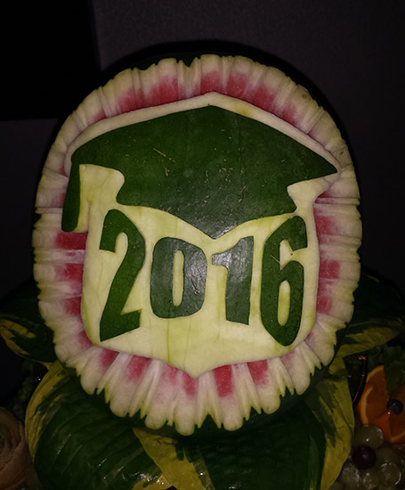 graduation watermelon carving by Aneta Lekas