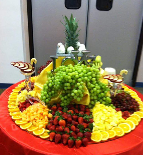 Wedding fruit table with apple swans