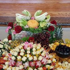 honeydew swans centerpiece for fruit and veggy table