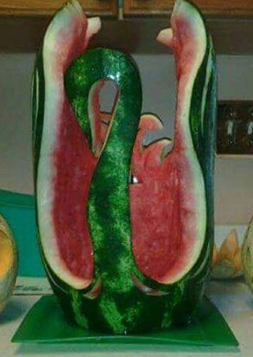 Large watermelon swan.