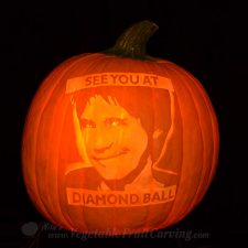 Carved pumpkin portrait of Dana Carvey by NIta Gill
