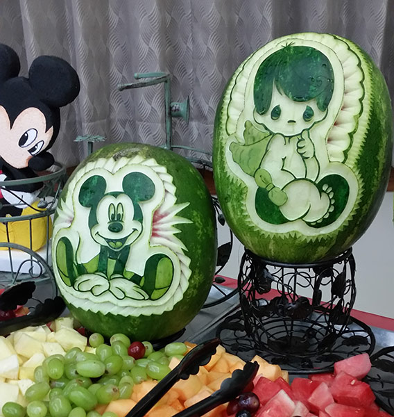 Fruit Table with Mickey Mouse watermelon decorations