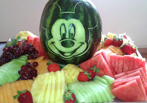 Mickey Mouse centerpiece for fruit tray