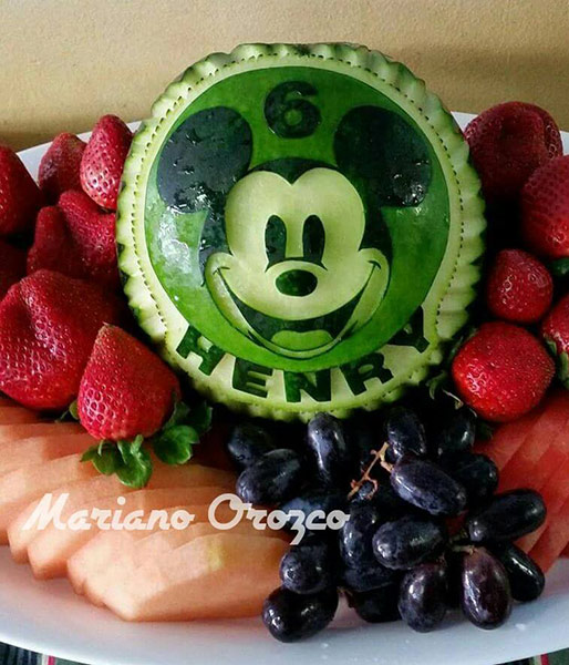6th birthday party Mickey Mouse watermelon carving