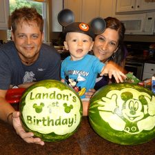 Mickey Mouse watermelon carving for 1st birthday celebration