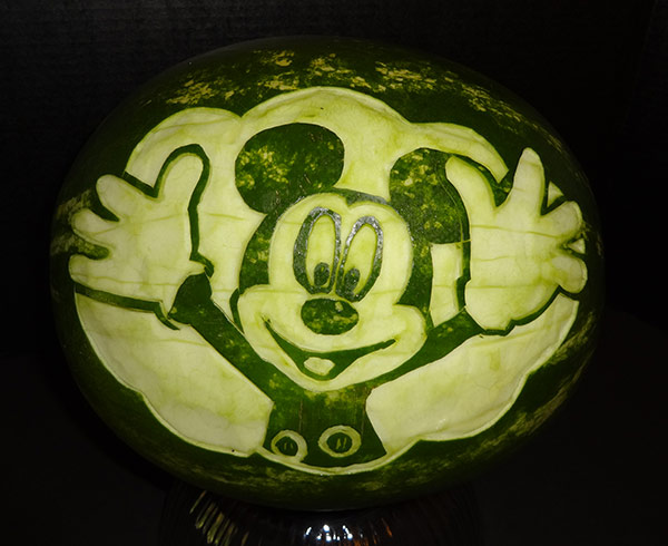 Mickey Mouse watermelon carving by Cindy Rozich