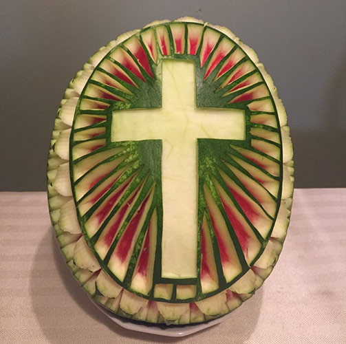 Cross watermelon carving by Sergio Martinez