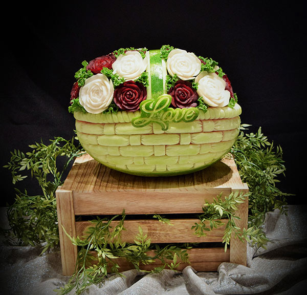 Watermelon basket with root vegetable roses