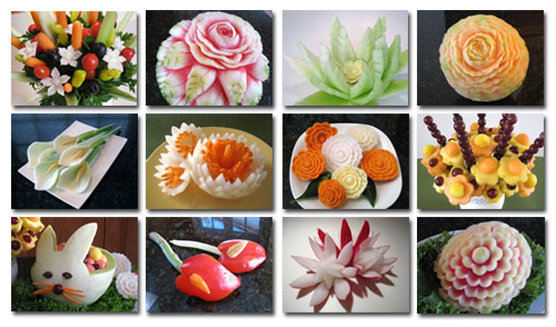 Some of the carvings taught in Veg etable and Fruit CArving 101 Course