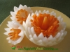 onion and carrot flower garnishes