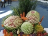 melon, fruit and vegetable carving display