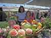 NIta and teacher Tammy with Melon Carvings