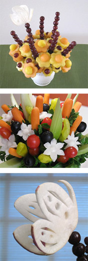 a fruit bouquet and a vegetable bouquet