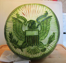 American Eagle watermelon carving by Pat O'Brien