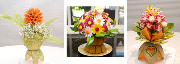 "Fruit and Vegetable Carving Bouquets taught in ""Amazing Carving with Jimmy Zhang"""