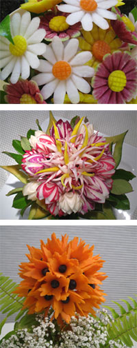 carved vegetable flowers by Jimmy Zhang