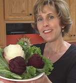 Nita with vegetable carving beet and turnip roses