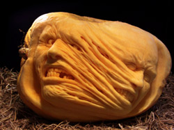 Mummy pumpkin carving by Ray Villafane