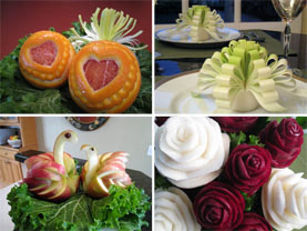 Fruit and Vegetable Carvings taught in Nita's Hearts and Roses Video Instructions
