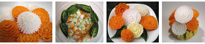 Carved Flowers from Yams and Turnips and Cucumber Leaves