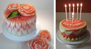Carved watermelon cakes