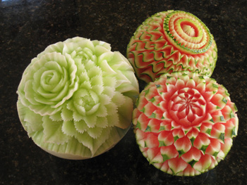 Nita's watermelon carvings and honeydew carving