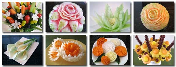 Some of the carvings taught in the Vegetable and Fruit Carving 101 Course