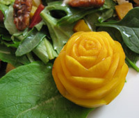 golden beet rose garnish
