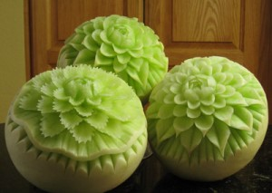 Honeydew Melon Carvings