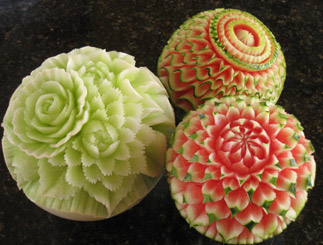 Nita's Watermelon and Honeydew Carvings