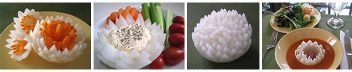 carved onion lotuses in Vegetable and Fruit Carving course