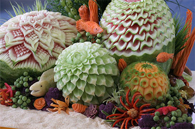 Under Sea Garden fruit carving display