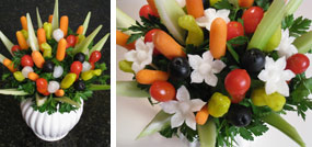 Vegetable Bouquet with carved vegetable flowers